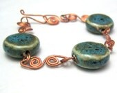 Copper Bracelet Wire Wrapped Turquoise Blue Ceramic Bead Handmade Bracelet