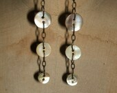 Sweet Antique Mother of Pearl Button Earrings - FREE USA 1st Class Shipping