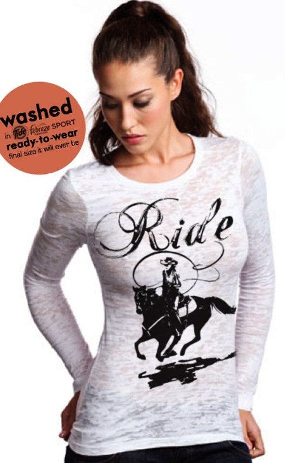 SALE Western riding horse shirt - fitted women's burnout - XL(8-10) - US shipping only