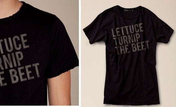 lettuce turnip the beet - DISTRESSED ROCKER black cotton tshirt - men's L or XL