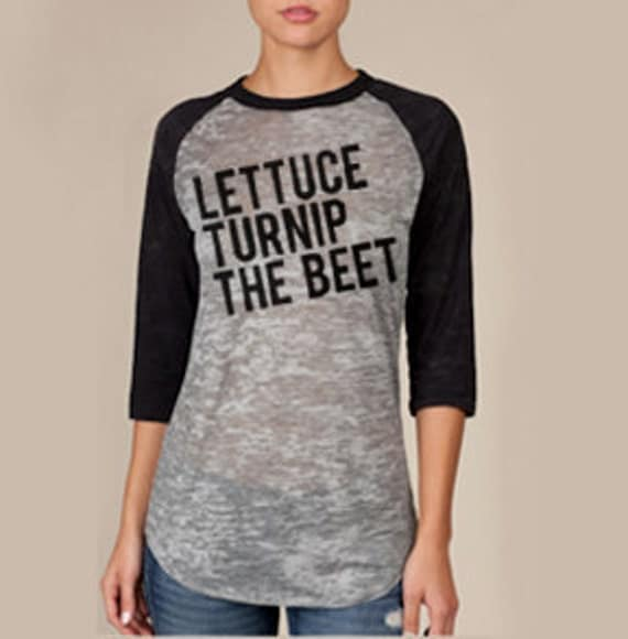lettuce turnip the beet - burnout baseball jersey in black and grey - unisex M
