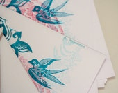 ON SALE Birdie Overprints set of 10 cards free gift with all purchases
