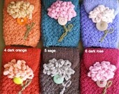 Women Knit Cuff Wrist Wallet / Case / Cozy (for MP3, iPods, ID, Creditcards, etc.) Pick a Posie No.2