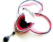 SALE - Hand Knit Fiber Art  Choker Necklace Jewelry - Harley 2 Angel Wings