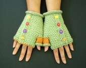 Hand Knit Women Fingerless Gloves - Multi-color Whimiscal Gloves - Carnival