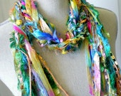 reserved for ronicarroll- Long Knot Scarf with Wood Beads- Spring Carnival
