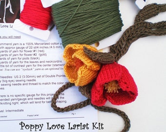 Flower Poppy Lariat Necklace Knitting Pattern and DIY Kit - Poppy Love