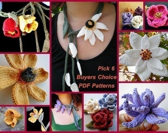 PDF Knitting Patterns - Ohmay  Pick Six (6) Floral Patterns