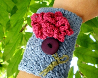 Knit Wrist Cuff Wallet / Cozy / Carry Case (for MP3, iPods, Cell Phones, etc.) Pick a Posie