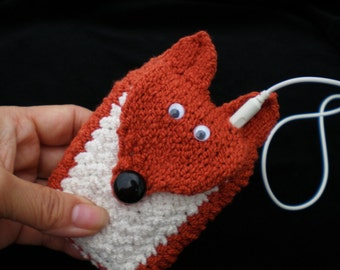 HandKnit Cuff Wallet / ID Carry Case / Cozy (for MP3, iPods, Cell Phones, ID, etc.) Sly Fox
