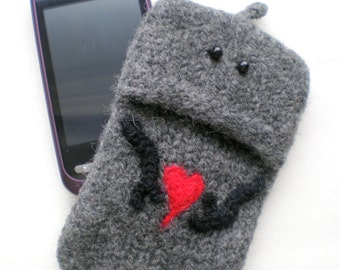 iPhone Case, Driod Razr, Samsung Felted Case - Hand Knit Felted Wool - Choice of Robot