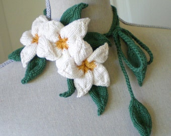 Women Knit Jewelry Fiber Art Flower Lariat Necklace / Headband / Bracelet / Belt - White Plumeria