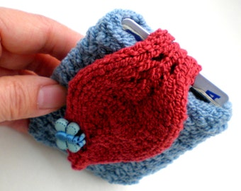 Hand Knit Cuff Wallet / Cozy / ID Carrier Case (for MP3, iPods, Id, credit cards etc.) Blue and Red Leaf
