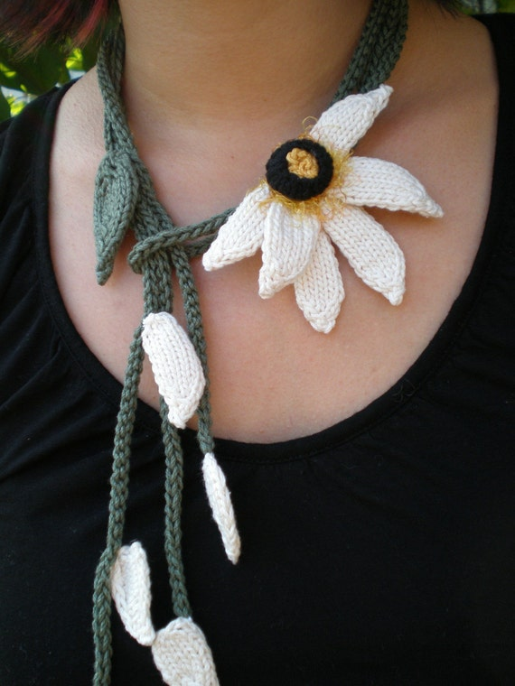 Women Fiber Art Knit Jewelry Daisy Lariat Necklace - Hand Knit Flower Necklace - Does He Love Me