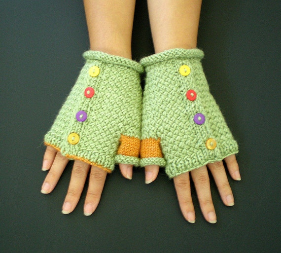 Hand Knit Women Fingerless Gloves - Carnival