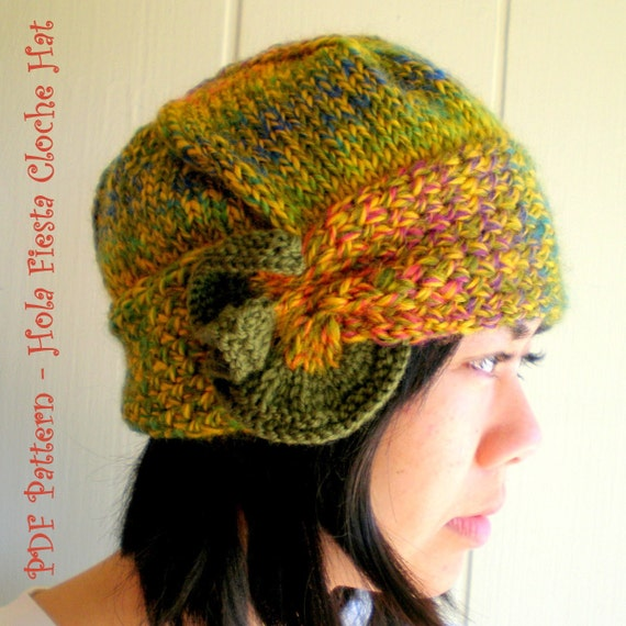 Cloche Hat Pattern Knitting : PDF Knitting Pattern Hola Fiesta Cloche Hat by ohmay on Etsy