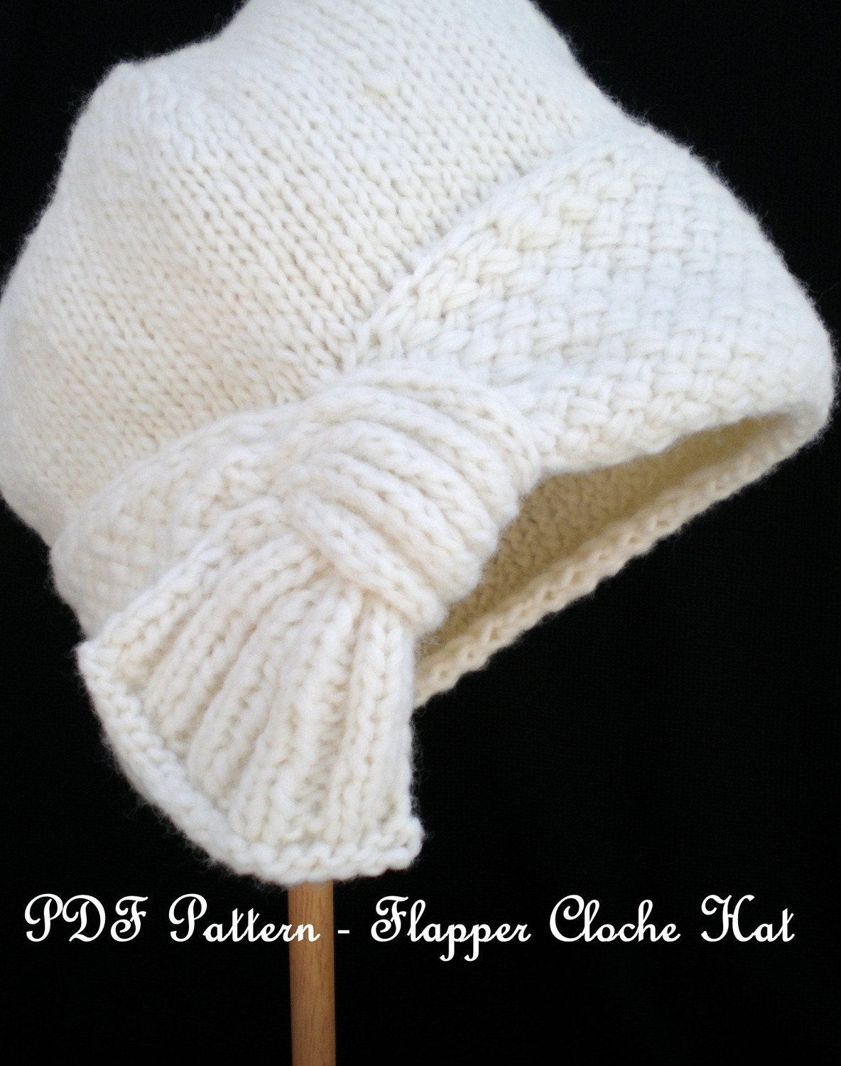 Cloche Hat Pattern Knitting : PDF Knitting Pattern Flapper Cloche Hat
