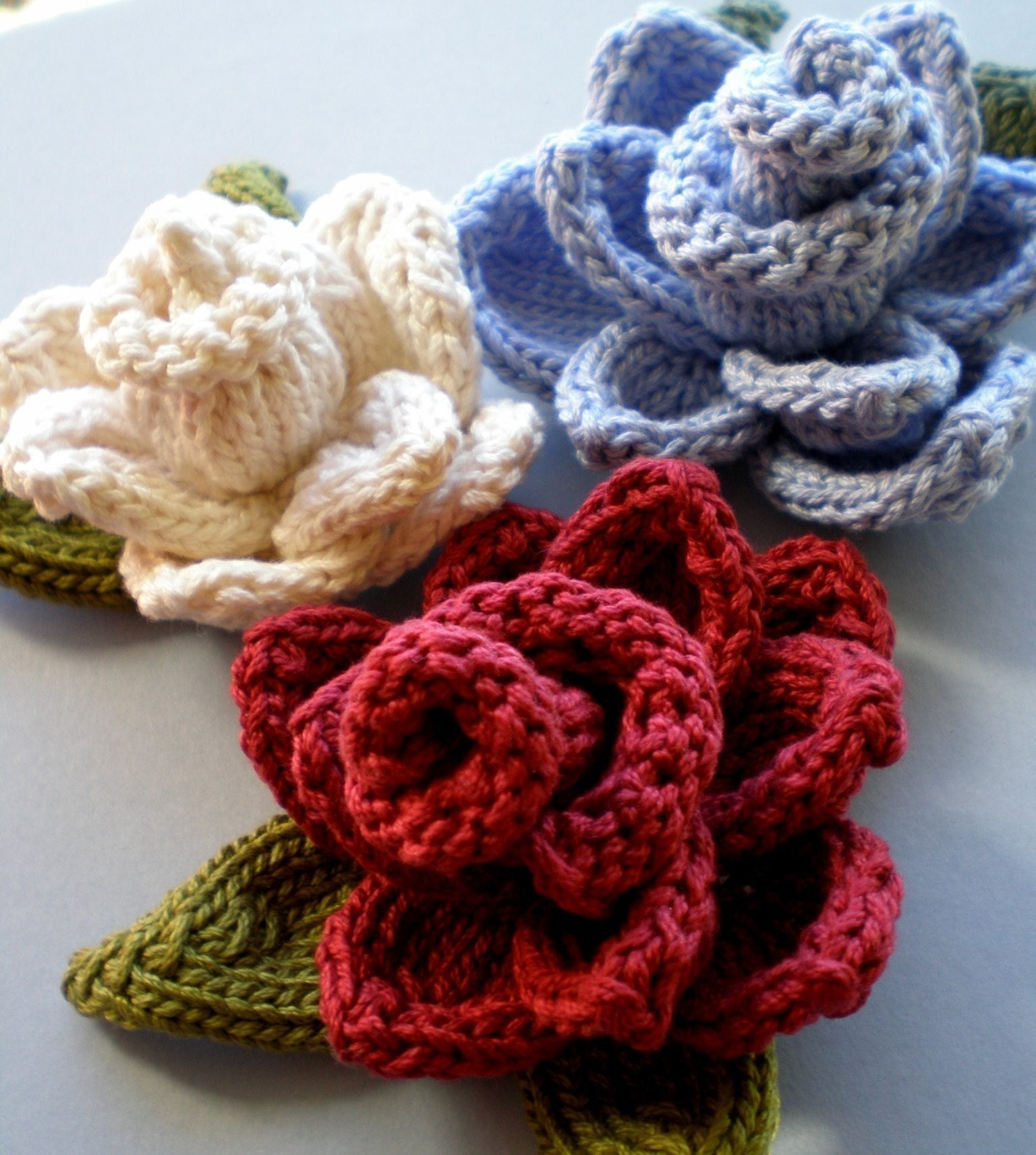 pdf pattern rose knitted flower
