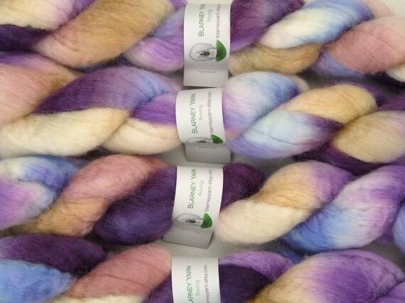 SALE - Handpainted Roving - 2 oz. Bluefaced Leicester Wool in Hydrangea by Blarney Yarn