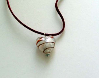 White and Red Murano Glass Heart Pendant