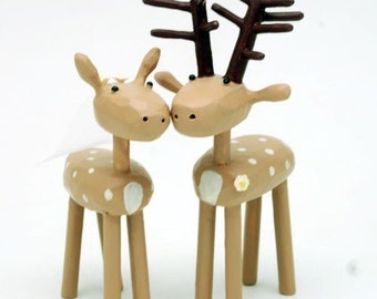 Deer Wedding Cake Toppers | Custom Wedding Cake Toppers | Forest Wedding | Rustic Wedding | Bride and Groom Deer | Forest Cake Topper