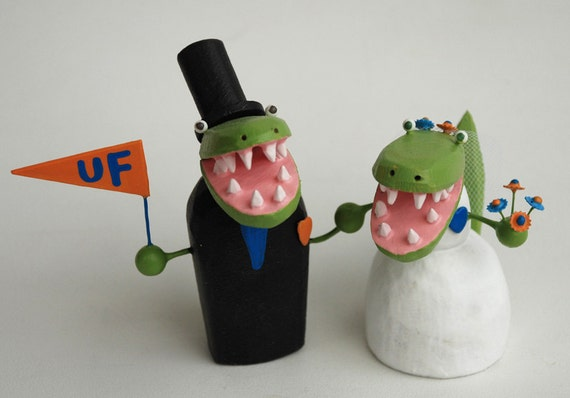 florida gator wedding cake toppers items similar to florida gator wedding cake toppers on etsy 14326
