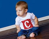 Initial on red and white polka dots 0, 2T, 4T, 6, 8 years
