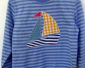 Colourful Yacht on striped blue long sleeve tee. Size 3 ready to post or order similar size 2 or 4