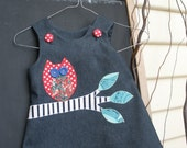 Cute Red Polkda Dot Owl on a Branch Pinafore 6 months 1T 2T 3T 4T