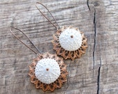 Sea Urchin Collection - Vintage Copper and White Earrings