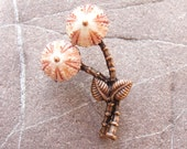 Sea Urchin Brooch, Pink Double Flower Pin, Floral Seashell Brooch