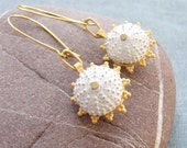 Sea Urchin Collection - Gold and White Earrings