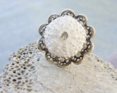 Sea Urchin Collection - White Flower Ring
