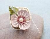 Lotus Flower Ring - Enamel Flowers and Leaf