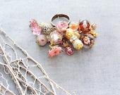 Little Pink Treasures Ring - Lampwork Beads