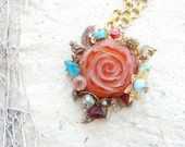 RESERVED Agate Rose Necklace - Agate Stone and Treasures - Romantic Garden