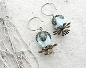 Minty Flower Earrings - Handmade Glass beads and Brass