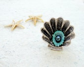 Shell and Pearl Mermaid Ring Sea Treasure Collection Beach Jewelry