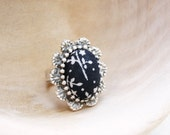 Black and White Fabric Ring