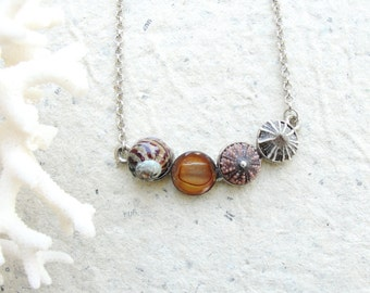 Sea Urchin Seashell Necklace - Sea urchin, Pearl, Limpet shell and seashell