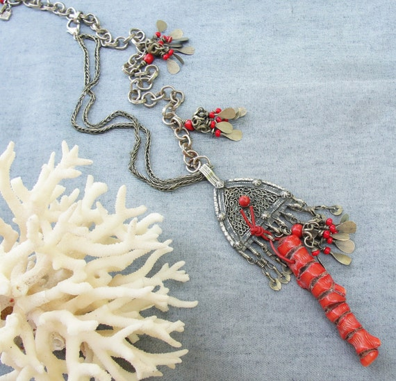 RESERVED- Red Daggers- Statement Necklace and Earrings set with Huge Blood Coral and Vintage Alpaca pieces