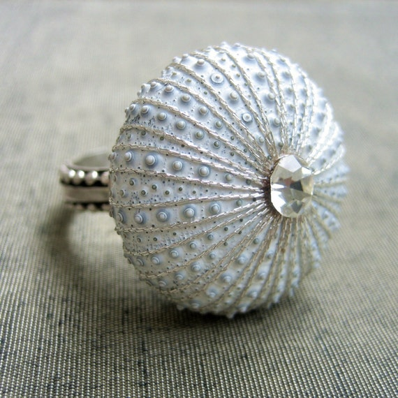 Sea Urchin Collection -Sterling Silver White Ring