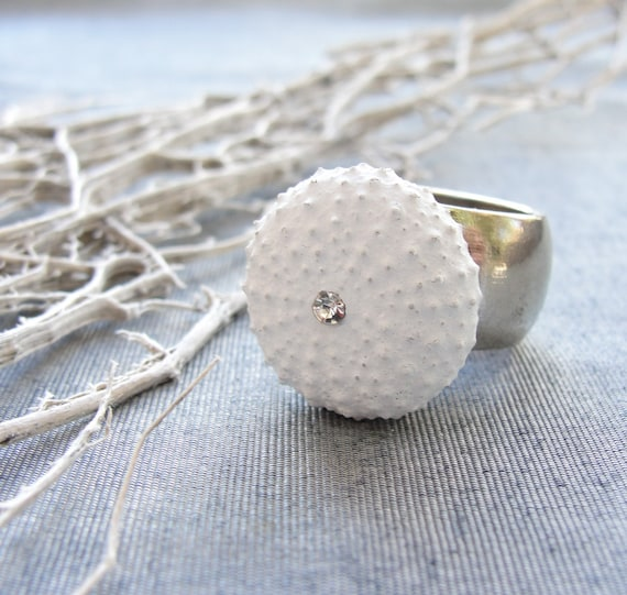 Sea Urchin White Ring (only US size 5)