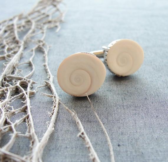Sea Treasure Collection- Eye of Shiva Shell Cufflinks