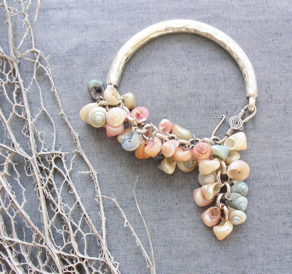 Blush of Love Bracelet - Pastel colored Shells and Silver Plated Metal