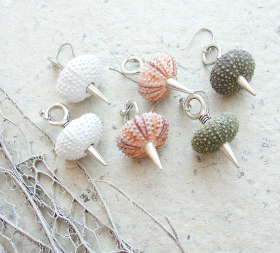 Sea Urchin Collection - Spikey Earrings - Pick Your Color - Pink Green White