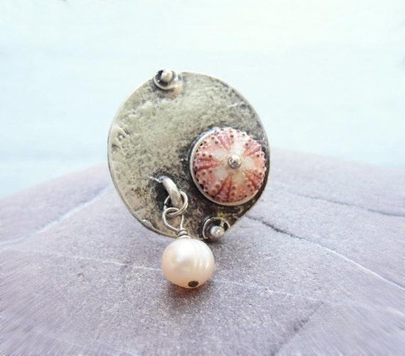 Sea Urchin Ring - Mini Urchin and Pearl Sea Jewelry