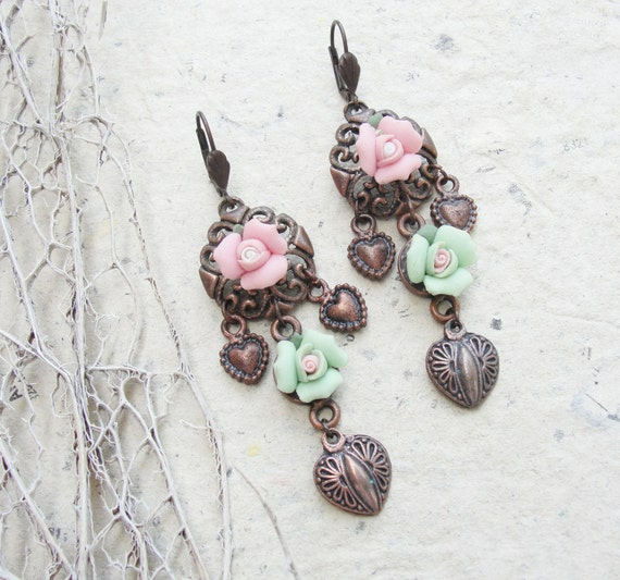 Porcelain Rose Garden Earrings