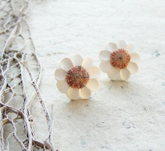 Sea Urchin Collection - Ooak Vintage Flower Earrings
