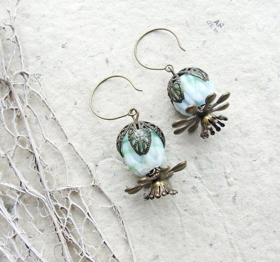 Minty Flower Earrings - Handmade Glass beads and Brass